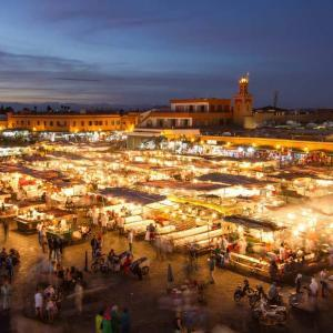 Djemaa el Fna at evening in Marrakech, Morocco