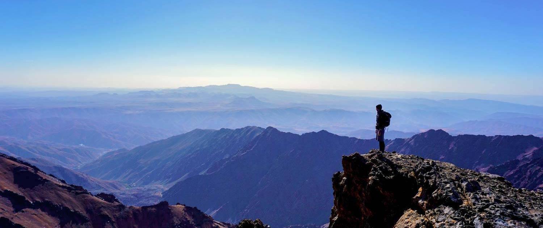 Aufstieg auf den Jbel Toubkal in Nationalpark Toubkal, Marokko