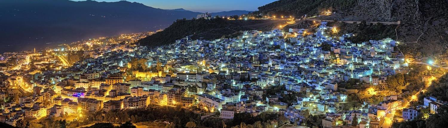 Morocco cities, evening panorama of Cheafchaoun