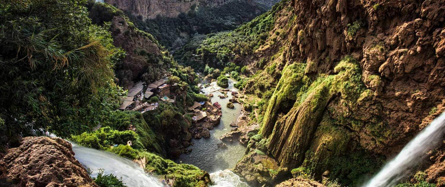 View of the waterfalls of Ouzoud in Morocco