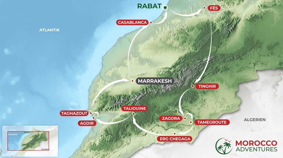Itinerary of the Morocco round trip from Marrakech, 10 days from Marrakech