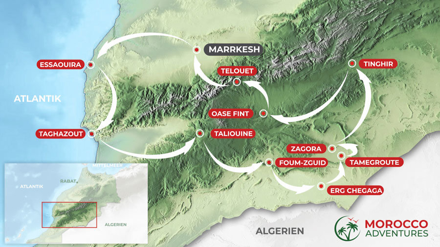 Route of the round trip South Morocco and Atlantic from Marrakech, 8 days in Morocco