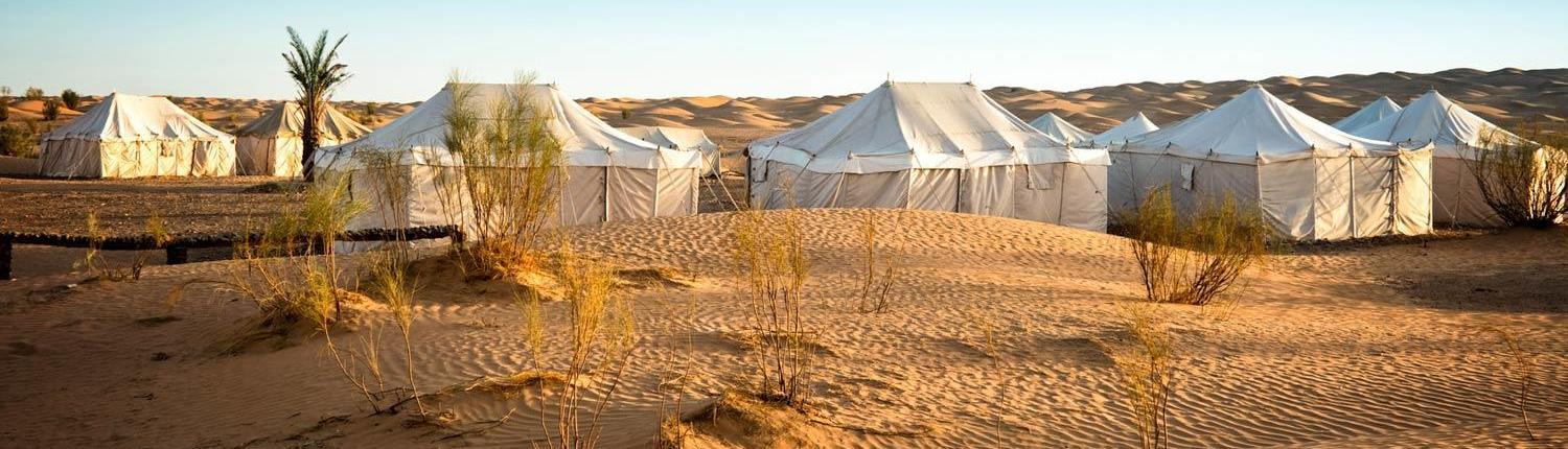 Tents in a nomad camp in the Sahara in southern Morocco, Morocco