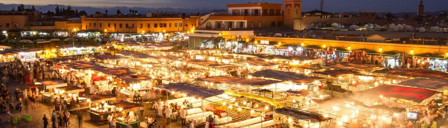 Morocco city life and markets, Djemaa el Fna in Marrakech