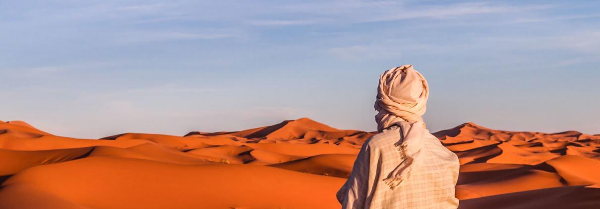 Marokko Wüste Safari, Sonnenuntergang in der Sahara