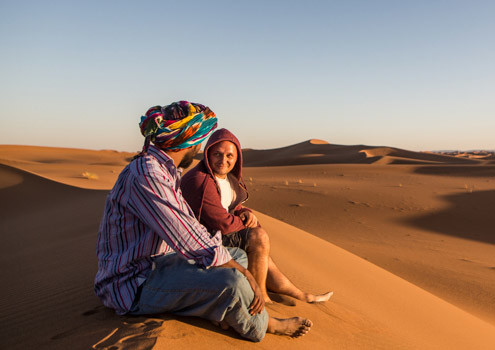Marokko Erlebnisreise, Sandünen in der Sahara bei Sonnenuntergang