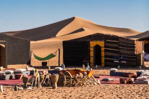 Marokko Rundreise ab Marrakesch 10 Tage, Wüstencamp in der Sahara bei Erg Chegaga