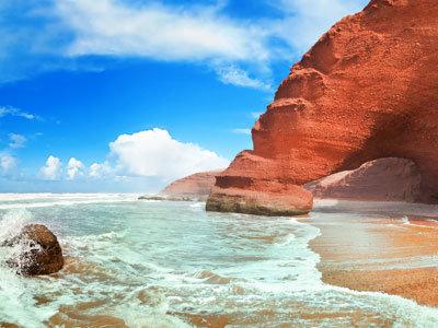 Marokko Strand und Meer, Lagzira Beach in Sidi Ifni in Marokko
