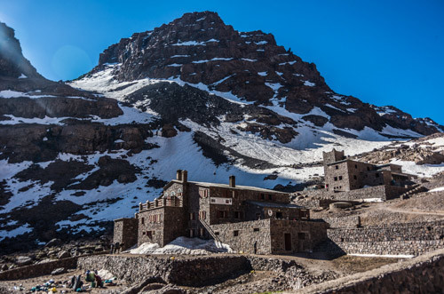 Morocco 7 days trekking trip in the Atlas Mountains, refuge Toubkal on the way to Jbel Toubkal